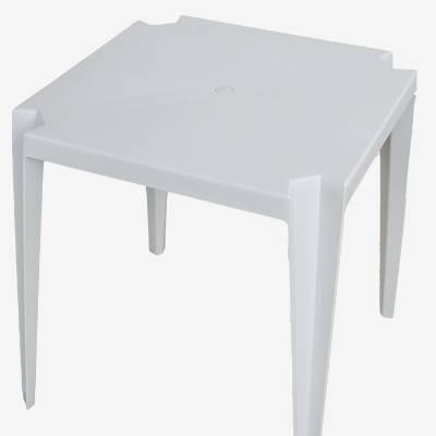 Mesa de Plástico Quadrada Empilhável Branca - Rei do Plástico - Foto 2