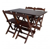 Detalhes do produto Conjunto Mesa Dobrável 120X70 - 4 cadeiras Imbuia - Móveis Maplan