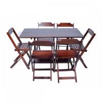 Detalhes do produto Conjunto Mesa Dobrável 120X70 - 6 cadeiras Imbuia - Móveis Maplan