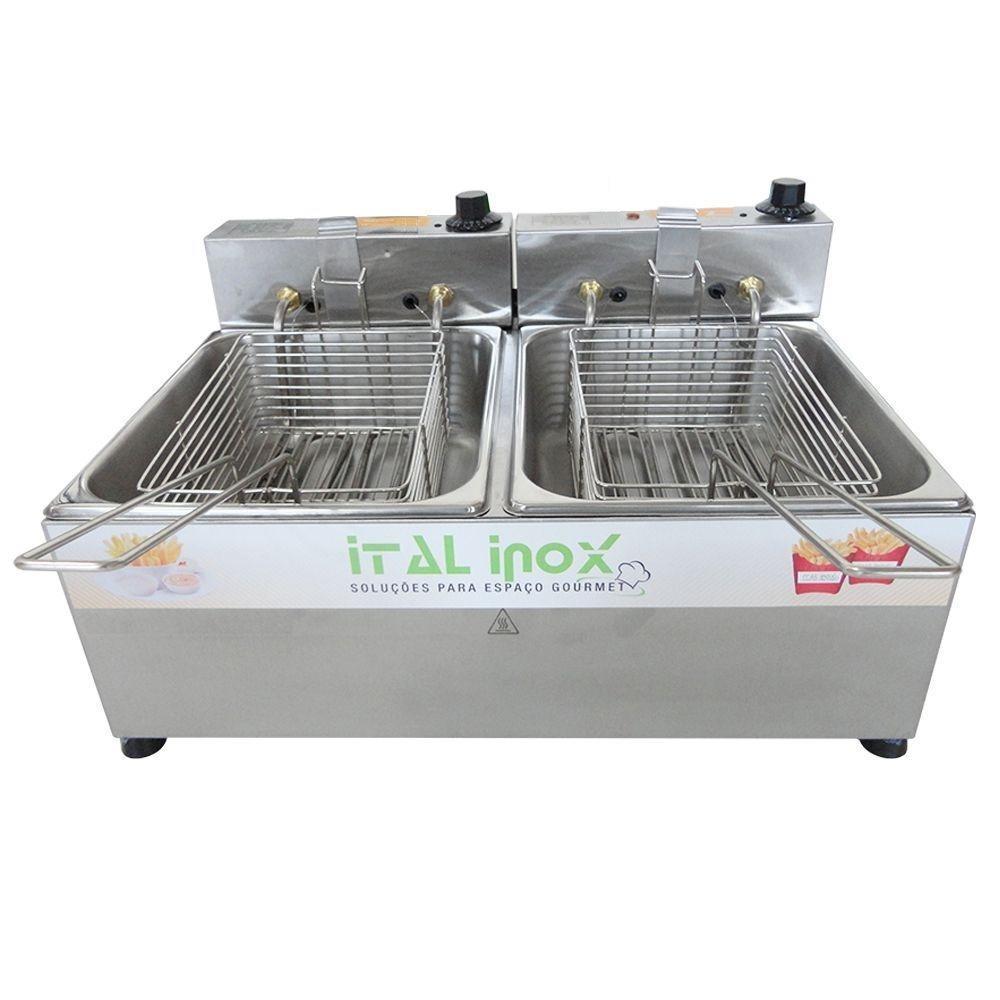 Fritadeira 2 cubas Elétrica 10 litros   - Ital Inox
